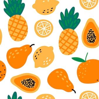 Patrón sin fisuras con frutas piñas, limones, papaya, pera, naranja