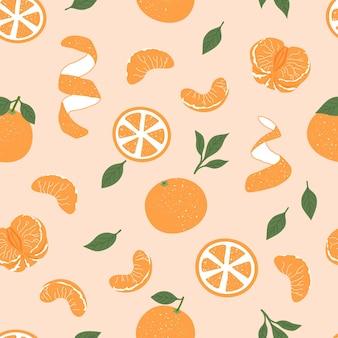Patrón sin fisuras de frutas tropicales mandarinas