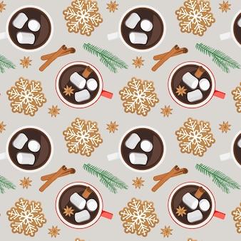 Patrón sin fisuras con galletas de forma de copo de nieve de pan de jengibre de taza de chocolate caliente anís ramita de abeto