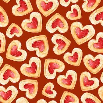 Patrón sin fisuras de galletas de mantequilla en forma de corazones con mermelada