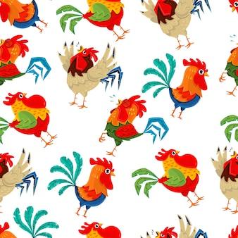 Patrón sin fisuras de gallo vector wallpaper
