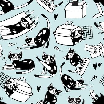 Patrón sin fisuras con garabato divertido gato en diferentes posturas contra. personaje de dibujos animados lindo dibujado a mano en blanco y negro.