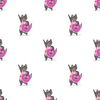 Patrón sin fisuras con un gato gris con un anillo de goma rosa