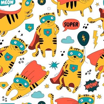 Patrón sin fisuras con un gato en una ilustración de traje de superhéroe
