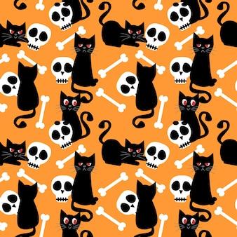 Patrón sin fisuras de gato negro y cráneo