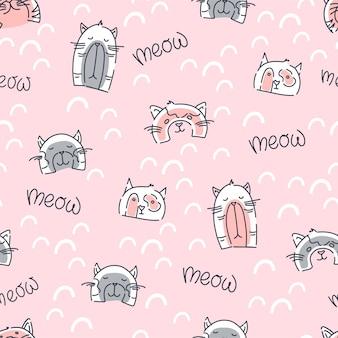 Patrón sin fisuras de gatos divertidos sobre un fondo rosa. impresión infantil para tela, embalaje. ilustración vectorial.