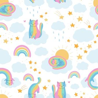 Patrón sin fisuras con gatos graciosos arco iris.
