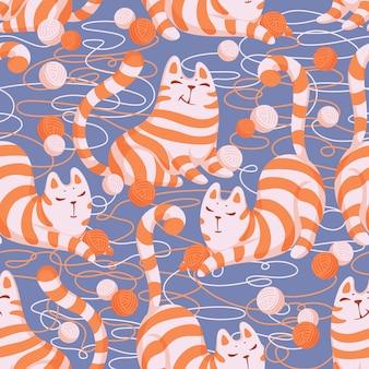 Patrón sin fisuras con gatos jugando con ovillos de lana.
