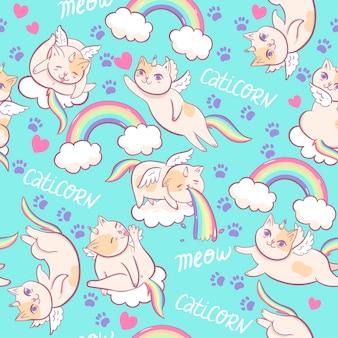 Patrón sin fisuras con gatos unicornio. gráficos vectoriales.