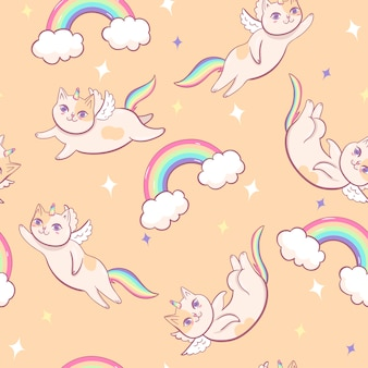 Patrón sin fisuras con gatos unicornio.