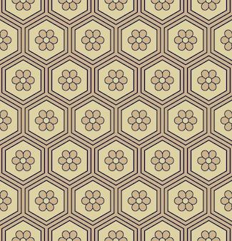 Patrón sin fisuras geometría de polígono hexagonal oriental marco flor redonda