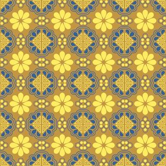 Patrón sin fisuras de geometría de triángulo de flor amarilla oro oriental