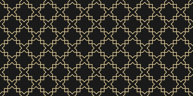 Patrón sin fisuras geométrico árabe, textura negra y dorada