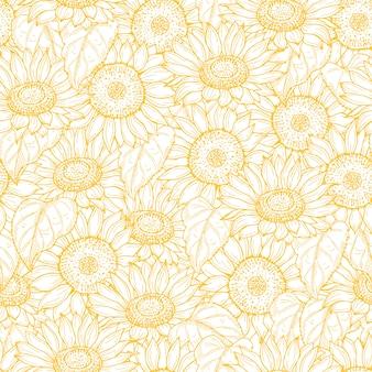 Patrón sin fisuras de girasol. línea de flores amarillas textura de fondo