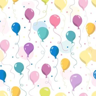 Patrón sin fisuras con globos de aire, estrellas y puntos. ilustración de vector dibujado a mano. patrón sin costuras para fondos de pantalla, textiles para niños, tarjetas, papelería, envoltura.