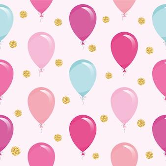 Patrón sin fisuras con globos de colores y confeti brillo.