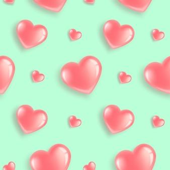 Patrón sin fisuras con globos rosa en forma de corazón.