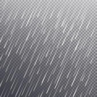 Patrón sin fisuras con gotas de lluvia pesada aisladas sobre fondo transparente