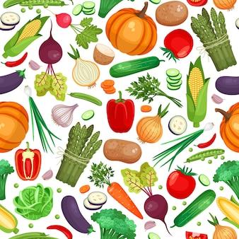 Patrón sin fisuras de gran cantidad de verduras sobre fondo blanco.