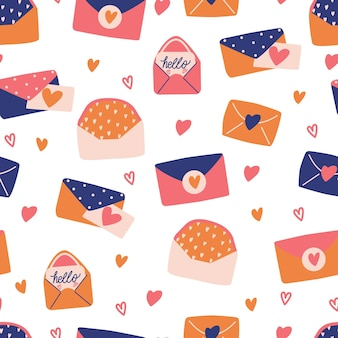 Patrón sin fisuras con gran colección de cartas de amor y símbolos para el día de san valentín feliz. ilustración plana colorida.