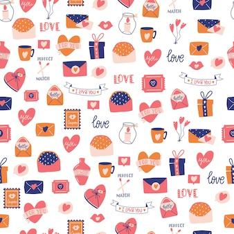 Patrón sin fisuras con gran colección de objetos de amor y símbolos para el día de san valentín feliz. ilustración plana colorida.