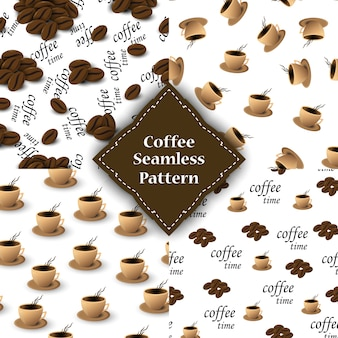 Patrón sin fisuras con granos de café y tazas para el embalaje