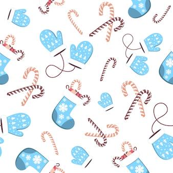 Patrón sin fisuras de guantes de lana azul y calcetines navideños