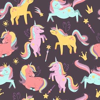 Patrón sin fisuras con hadas unicornios
