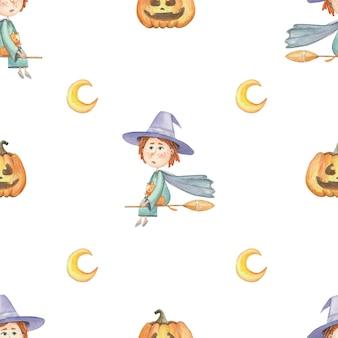 Patrón sin fisuras para halloween con bruja y calabaza sobre fondo blanco.