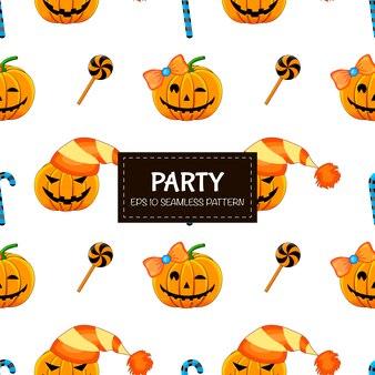 Patrón sin fisuras de halloween con calabazas. estilo de dibujos animados ilustración.