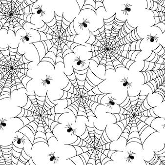 Patrón sin fisuras de halloween fiesta decoración tela de araña