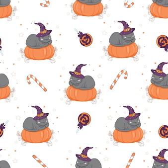 Patrón sin fisuras de halloween con gato y calabaza.