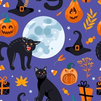 Patrón sin fisuras de halloween gato negro, luna, sombrero de bruja, regalos, linterna de gato, dulces. sobre un fondo morado. estilo de dibujos animados de ilustración brillante. para papel tapiz, impresión en tela, envoltura, fondo.