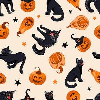 Patrón sin fisuras de halloween gato negro, sombrero de bruja, linterna de gato, dulces. sobre fondo beige claro. ilustración brillante en estilo de dibujos animados. para papel tapiz, impresión en tela, envoltura, fondo