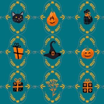 Patrón sin fisuras de halloween gato negro, sombrero de bruja, linterna de gato, regalos, dulces. sobre un fondo verde. estilo de dibujos animados de ilustración brillante. para guardería, papel tapiz, impresión en tela, envoltura, fondo.
