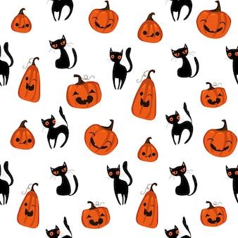 Patrón sin fisuras de halloween con lindas calabazas, gato negro y otros elementos de halloween. fondo de vector de halloween. eps 10