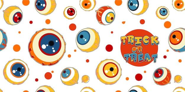 Patrón sin fisuras de halloween de ojos de monstruos divertidos dibujos animados
