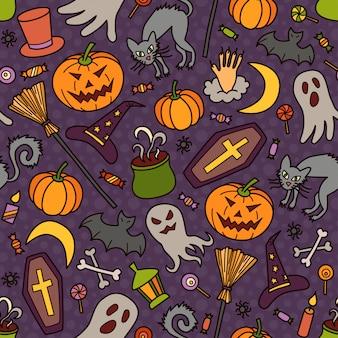 Patrón sin fisuras de halloween con sombrero de calabaza, fantasma y bruja en estilo doodle. ilustración dibujada a mano
