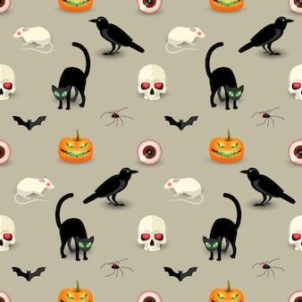 Patrón sin fisuras de halloween tradicional con cráneo gato negro cuervo murciélago araña calabaza rata ojo humano