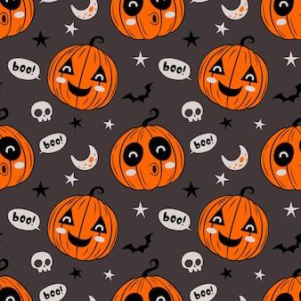 Patrón sin fisuras de hallowen con calabaza divertida