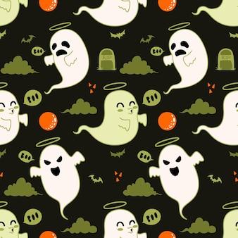 Patrón sin fisuras de hallowen con lindo fantasma Vector Premium
