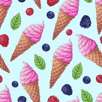 Patrón sin fisuras helado bayas silvestres