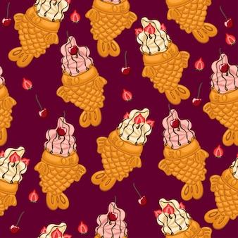 Patrón sin fisuras con helado taiyaki con cerezas y fresas.