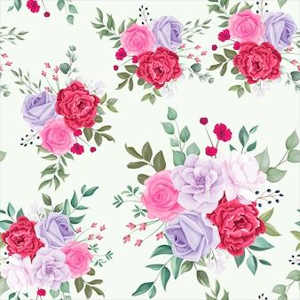 Patrón sin fisuras hermosa flor floral