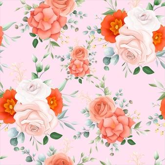 Patrón sin fisuras de hermosa flor naranja
