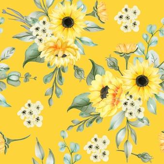Patrón sin fisuras con hermosas flores y hojas de sol
