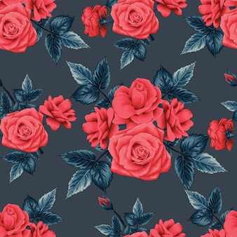 Patrón sin fisuras hermosas flores rosas rojas sobre fondo de color negro.