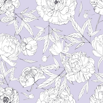 Patrón sin fisuras de hermosas peonías. flores de flor, brotes y hojas. ilustración en blanco y negro
