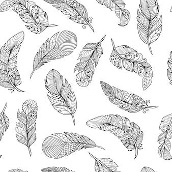 Patrón sin fisuras de hermosas plumas abstractas estilo zenart en blanco