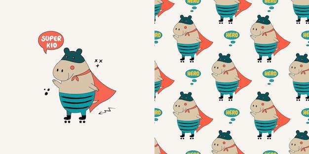 Patrón sin fisuras de hipopótamo. doodle con hipopótamo salvaje.